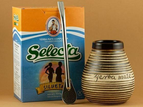 Zestaw do yerba mate - bombilla + naczynko + 0,5 kg yerba mate Selecta Silueta