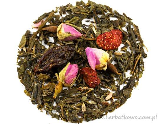 Zielona herbata Sencha Truskawki w Szampanie